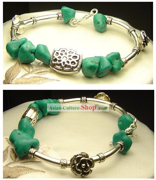 Chinese Silver Song Stone Bracelet