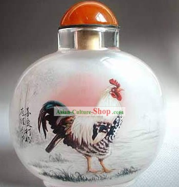 Snuff Bottles With Inside Painting Chinese Zodiac Series-Rooster 1