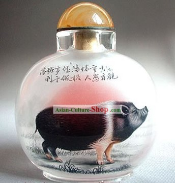 Snuff Bottles With Inside Painting Chinese Zodiac Series-Pig 1