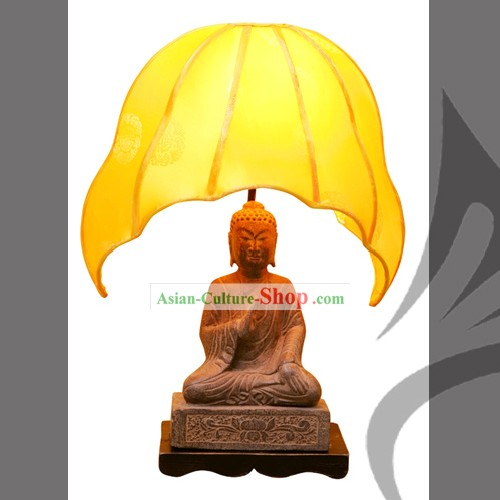 Chinese Hand Carved Stone Buddha Lamp-Fo(Fu)