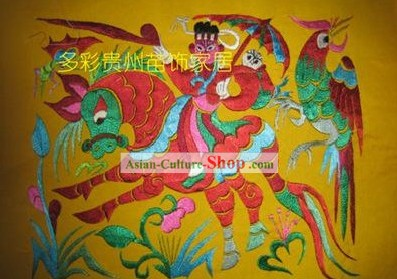 Chinese Miao Minority Silk Thread Hand Embroidery Art-Riding