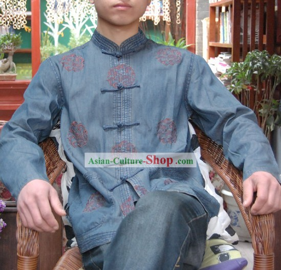 Chinese Classical Hand Embroidered Blue Dragon Blouse