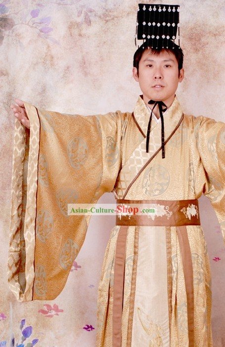 57e9ecfe4 Ancient Chinese Qin Shi Huang First Emperor Costume and Hat Complete Set