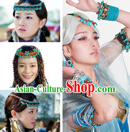 Ancient Chinese Princess Blue Stone Forehead Accessories