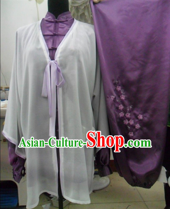 Top Chinese Flower Embroidery Contest and Performance Martial Arts Dresses