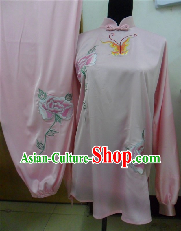 Pink Long Sleeves Flower Butterfly Embroidery Martial Arts and Tai Chi Outfit Complete Set for Women
