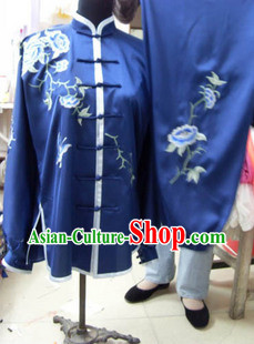 Blue Mandarin Flower Embroidery Martial Arts Tai Chi Uniforms