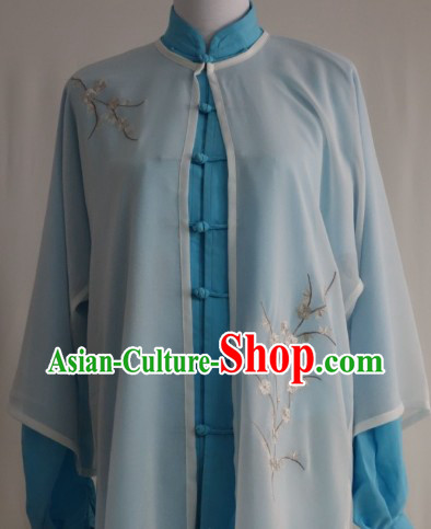 Top Tai Chi Costumes Blouse Pants and Embroidered Plum Blossom Veil Three Pieces Complete Set