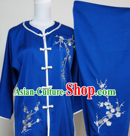 Top Silk Blue Plum Blossom Embroidery Martial Arts Clothes Complete Set