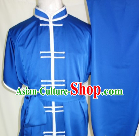Silk Blue Dress Pants and Soft Belt Kung Fu Practice Clothing Complete Set