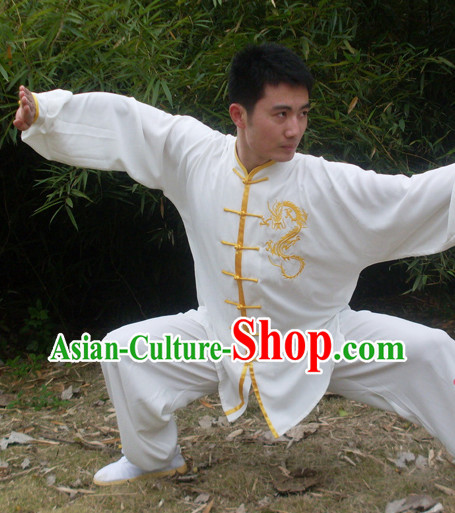 Morning Practice White Kung Fu Uniform with Gold Dragon