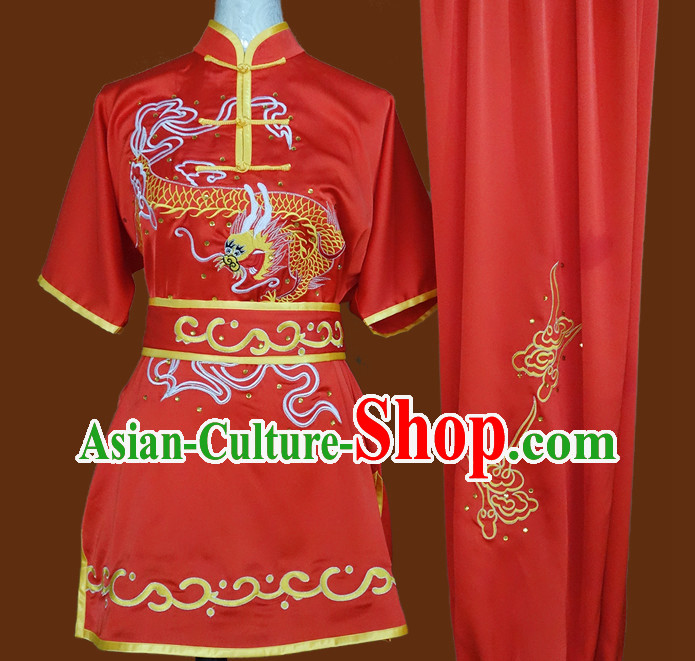 China Red Top Dragon Embroidery Martial Arts Competition Clothes Complete Set