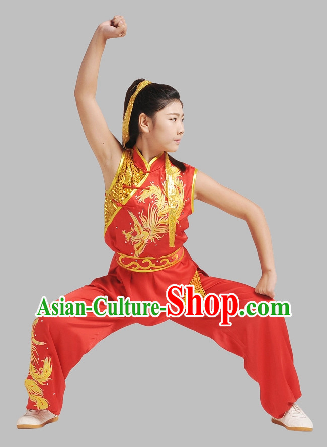 Top Red Gold Phoenix Embroidery Martial Arts Competition Uniforms