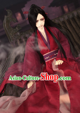 72c53b0e5 Asian Fashion Chinese Deep Red Kung Fu Master Costumes Hanfu Complete Set  for Men