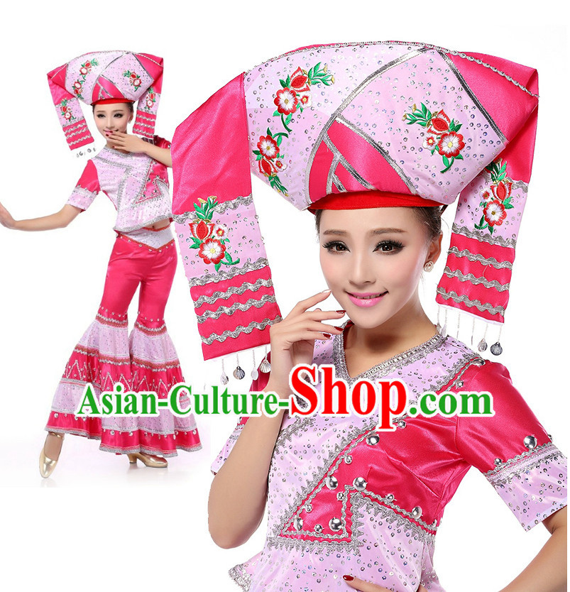 b36e3a0ab Chinese Stage Zhuang Minority Costumes Apparel Dance Stores Dance Gear  Dance Attire and Hair Accessories Complete