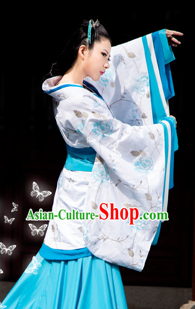 5b7781211 Chinese Traditional Han Fu Clothes and Hair Accessories Complete Set for  Ladies