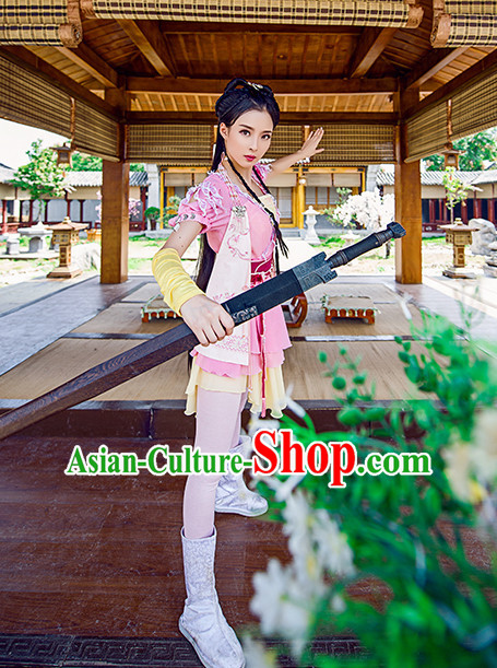 Chinese Traditional Han Fu Clothes Oriental Heroine Costumes and Hair Accessories Complete Set for Ladies