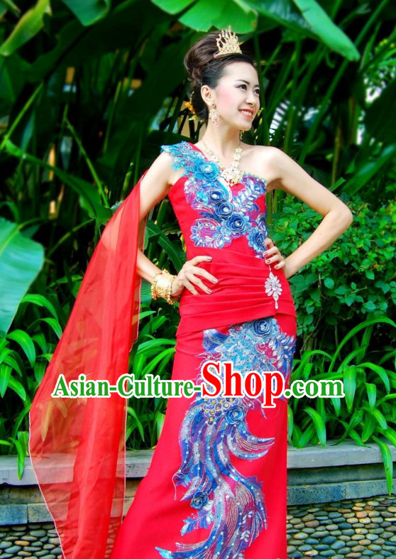 72b3738cd Thai Traditional Dress Thailand Fashion Thailand Customs Traditional  Wedding Dress National Bridal Costumes and Hair Accessories Complete Set  for Women