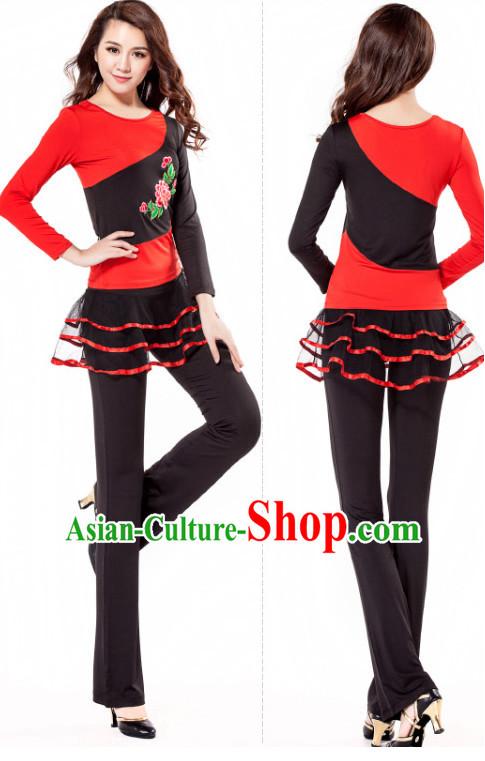 de8e11e9064c Red Black Chinese Style Modern Dance Costume Ideas Dancewear Supply Dance  Wear Dance Clothes Suit