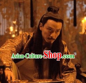 Ancient Chiense Tang Black Long Wigs for Men