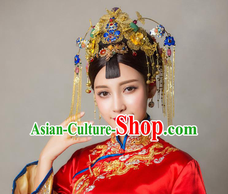 New Traditional Chinese Bride Tiara Headdress Women Hair Jewelry Handmade