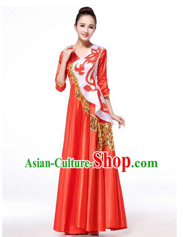 Chinese Classic Stage Performance Chorus Singing Group Dance Costumes, Chorus Competition Costume, Compere Costumes for Women