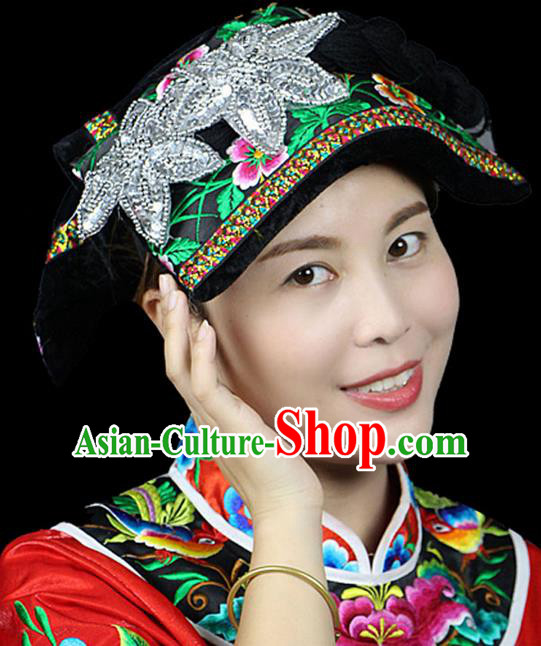 Traditional Chinese Miao Nationality Phoenix Silver Headwear, Hmong