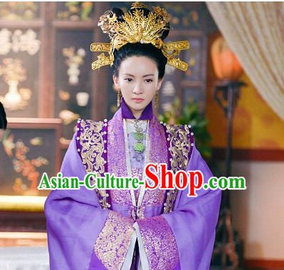 Ancient Chinese Ming Dynasty Queen Princess Empress Clothing and Hair Jewelry Complete Set for Women