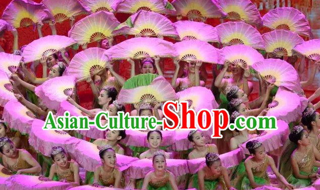 Double Sides Traditional Chinese Fans Oriental Fan Folk Dance Hand Fan Dance Ribbons Cultural Dances