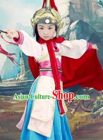 Chinese Classical Hua Mulan Costumes and Headdress Complete Set for Kids