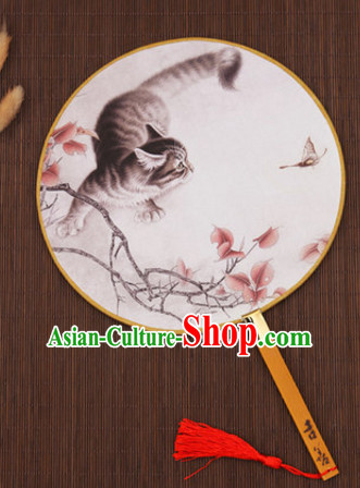 Ancient Chinese Classic Handmade Cat Palace Fan Round Fan Mandarin Fan Gong Shan Dance Fan