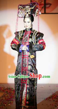 Qing Dynasty Chinese Imperial Palace Empress Garment and Hair Jewelry Complete Set for Women