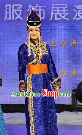 Blue Traditional Mongolian Clothing Traditional Mongolian Clothing Folk Empress Garment for Women