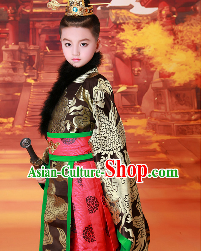 9f54563e1 Ancient Chinese Prince Dress Emperor Costumes Dragon Robe and Hat Crown Complete  Set for Men