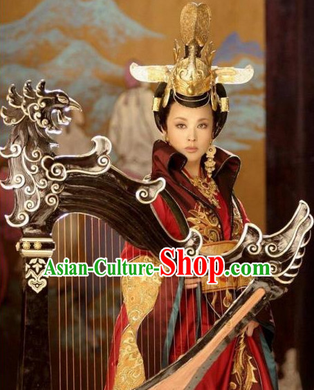China Ancient Tang Dynasty Palace Black Wigs Headpieces Hair Jewelry Set