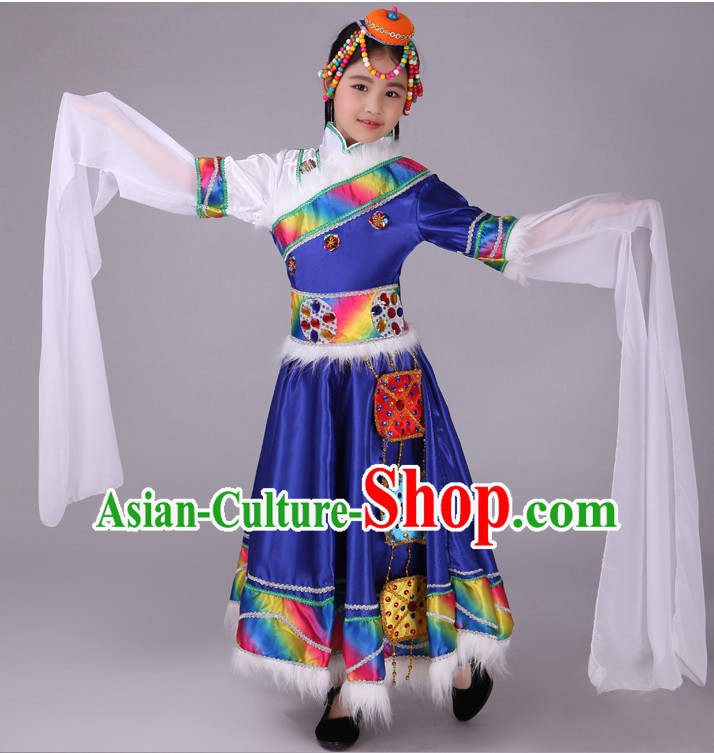be6a98b33b878 Chinese Tibetan Kids Minority Dance Dress China Fan Dance Costume Ribbon Dance  Costumes Folk Dance Suit