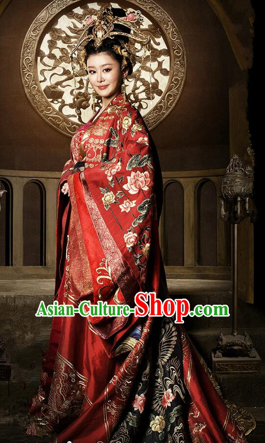 Traditional Chinese Ancient Imperial Emperess Concubine Wedding Costumes, Ancient Chinese Cosplay Queen Princess Costume and Hair Accessories Complete Set for Women