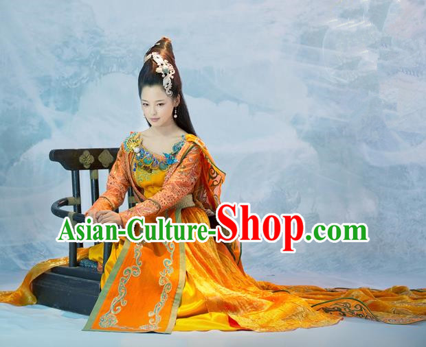 Traditional Chinese Minority Nationality Costumes Ancient Imperial Princess Wedding Costumes, Ancient Chinese Cosplay Queen Princess Embroidery Costume and Hair Accessories Complete Set for Women