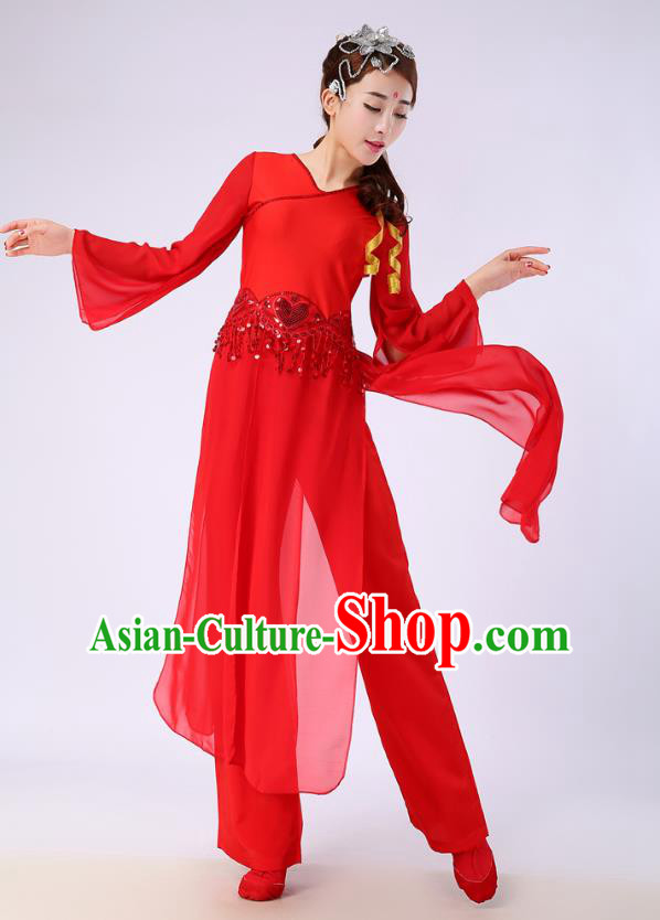 Traditional Chinese Yangge Fan Dance Embroidered Costume, Folk Dance Red Uniform Classical Dance Clothing for Women