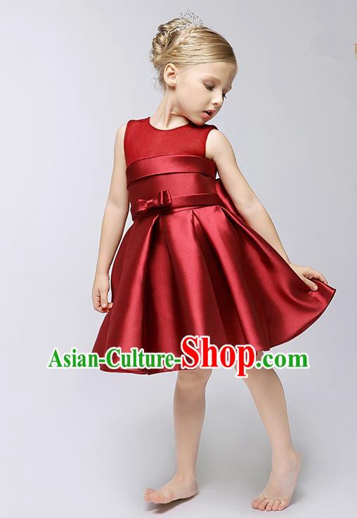 8ade786218 Children Model Show Ballet Dance Costume Wine Red Satin Dress