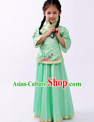 Traditional Ancient Chinese Nobility Lady Green Costume, Asian Chinese Republic of China Embroidered Clothing for Women