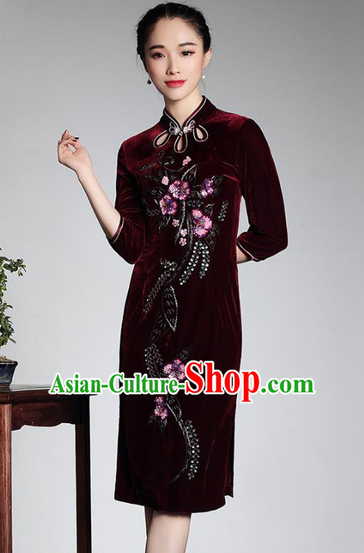 3408dcad9 Traditional Ancient Chinese Young Lady Retro Wine Red Velvet Hot Drilling  Cheongsam, Asian Republic of China Qipao Tang Suit Dress for Women