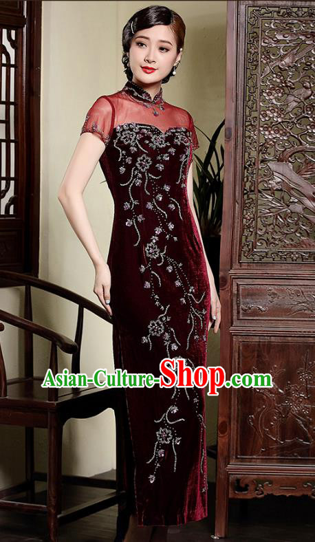 0b3b02aa1 Traditional Ancient Chinese Young Lady Retro Stand Collar Wine Red Velvet  Cheongsam, Asian Republic of China Qipao Tang Suit Dress for Women