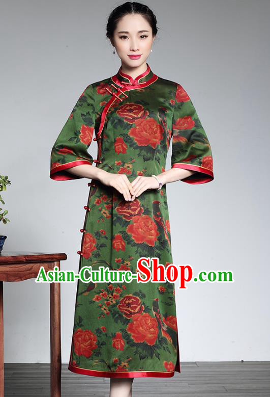 767bf558d Asian Republic of China Young Lady Retro Plated Buttons Printing Green Silk  Cheongsam, Traditional Chinese Wedding Qipao Tang Suit Dress for Women