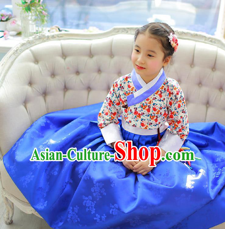 Korean National Handmade Formal Occasions Girls Hanbok Costume Embroidered Blouse and Blue Dress for Kids