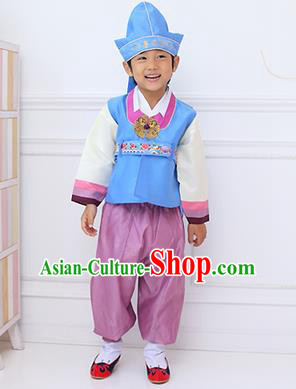 Traditional Korean Handmade Hanbok Embroidered Boy Blue Clothing a3f14f8ba880