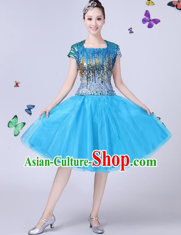 3e52de1b3c4c Traditional Chinese Modern Dance Opening Dance Jazz Dance Blue Dress Folk  Dance Chorus Costume for Women