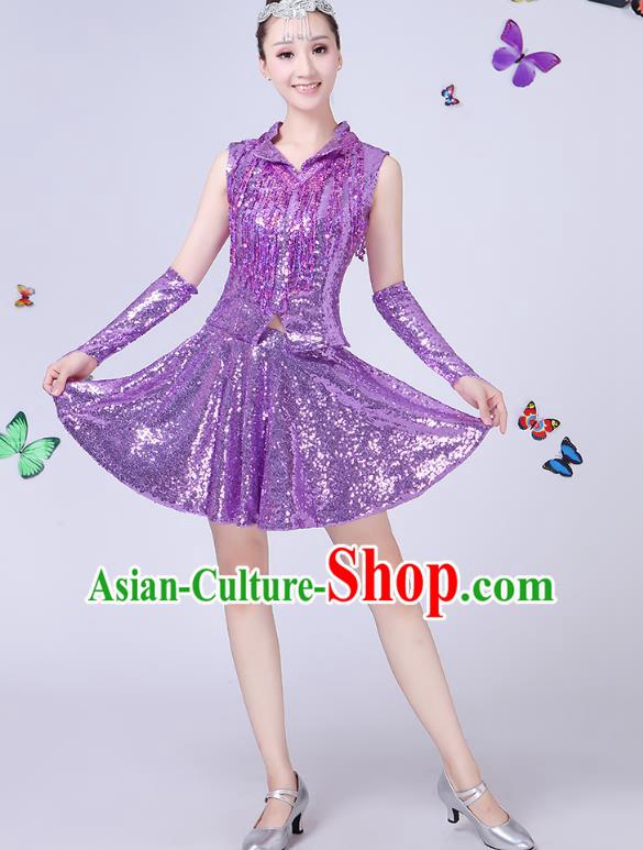 2c0fc018b774 Traditional Chinese Modern Dance Opening Dance Jazz Dance Purple Uniform  Folk Dance Chorus Costume for Women