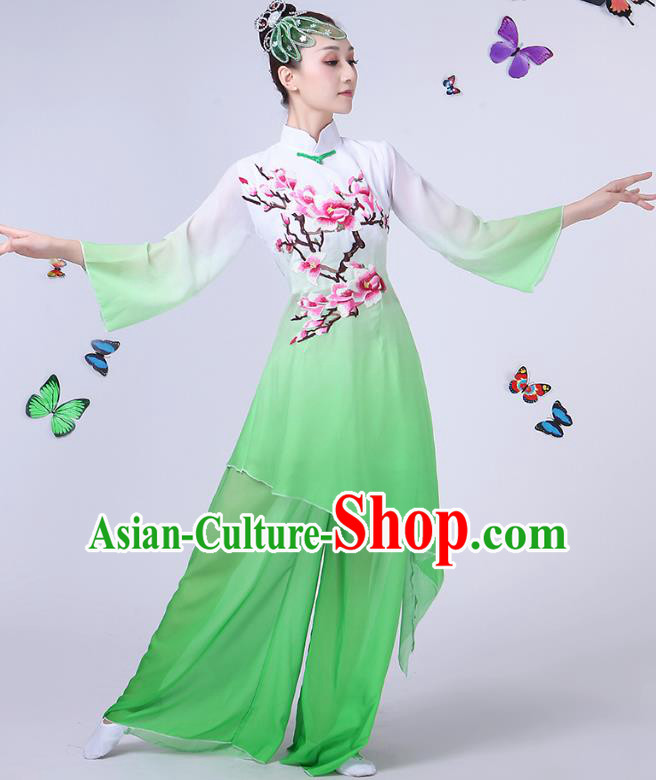 f244d0fa5823 Traditional Chinese Modern Dance Opening Dance Clothing Chorus Folk Fan  Dance Embroidered Green Dress for Women
