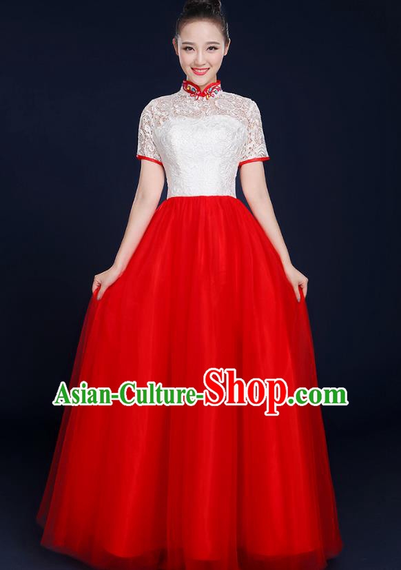 Traditional Chinese Modern Dance Opening Dance Lace Clothing Chorus Classical Dance Red Dress for Women